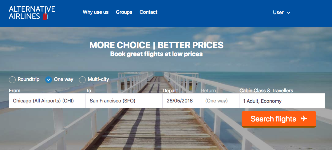 Alternative Airlines search bar with Chicago to San Francisco selected