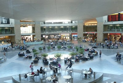 Inside terminal building at Ben Gurion International Airport