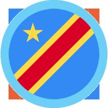 The Congo Flag Round blue border