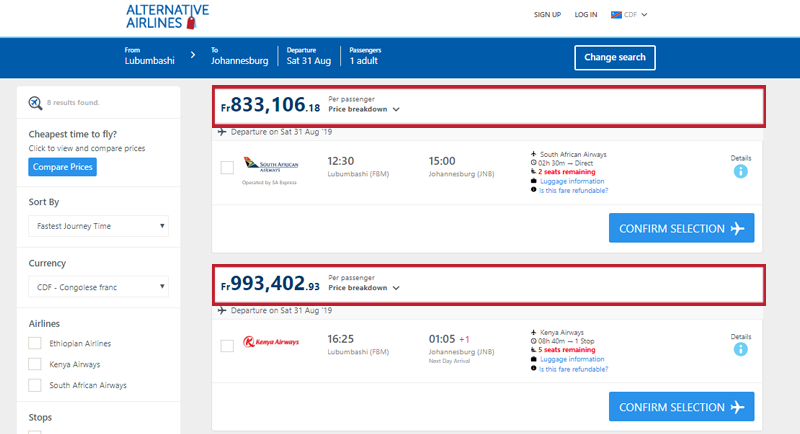 Alternative Airlines The Congolese Franc search results page
