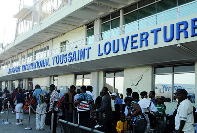 Outside the front of Haiti Toussaint Louverture International Airport