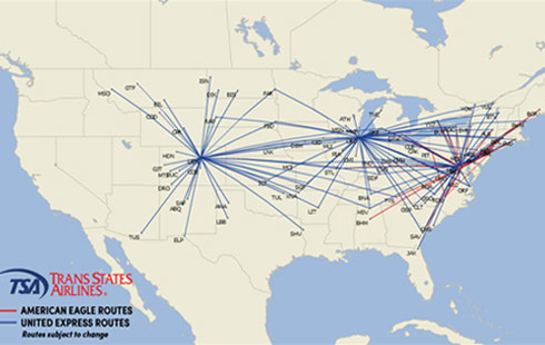 Trans States Airlines Route map