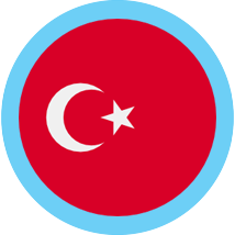 Turkey round flag blue border