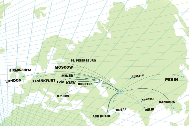 turkmenistan airlines route map showing middle east, asia and europe