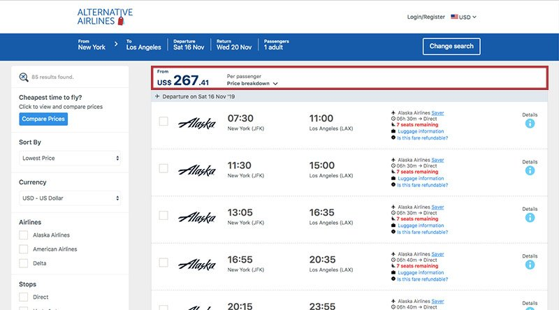 Alternative Airlines Turkish lira search results page