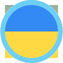 Ukraine Flag Round Blue Border