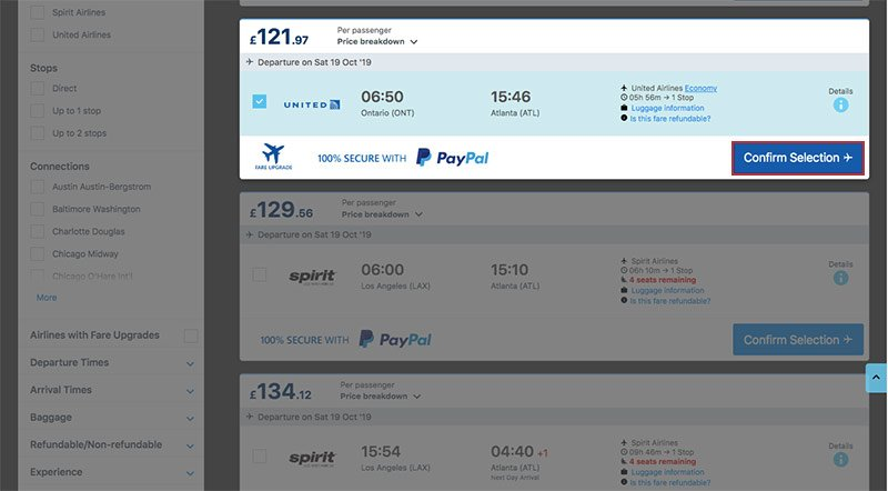 United Airlines Flight ONT–ATL 19.10.19 on Alternative Airlines website