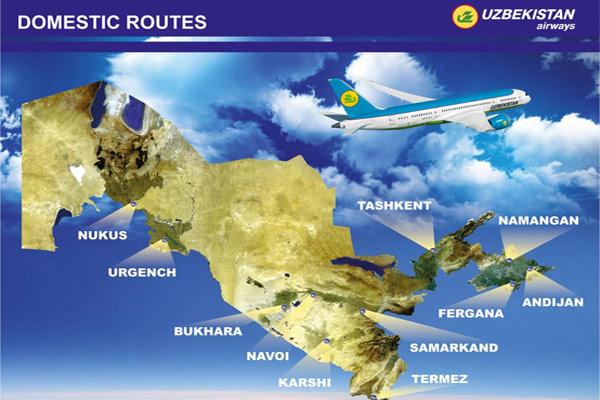 Uzbekistan Airways Domestic Route Map