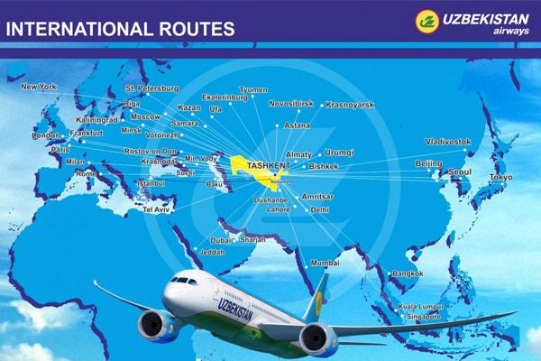 Uzbekistan Airways international route map
