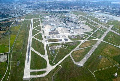 Aerial view of Vancouver International Airport