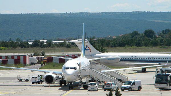 Plane parked at Varna Airport
