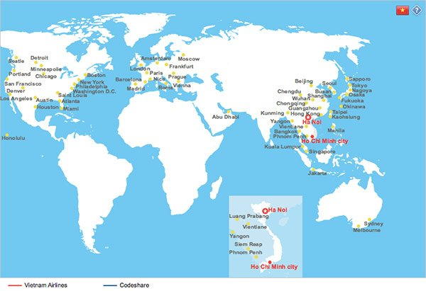 Vietnam Airlines Route Map showing world destinations