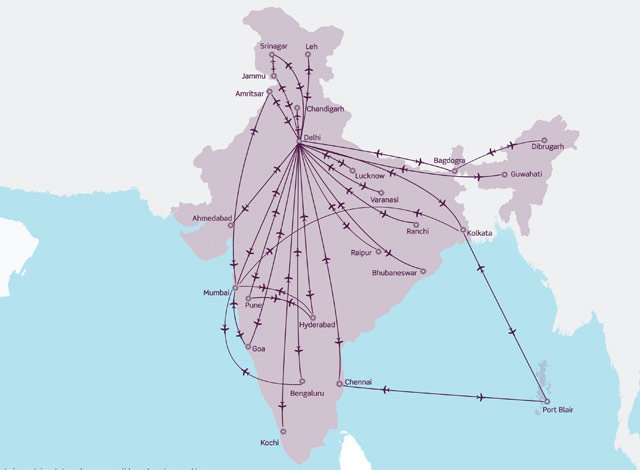 Vistara Route Map