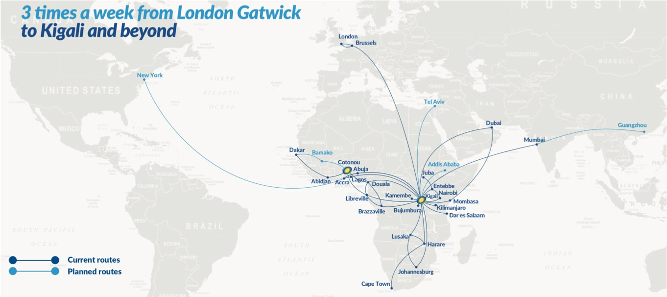Image of map displaying the airline RwandAir's routes
