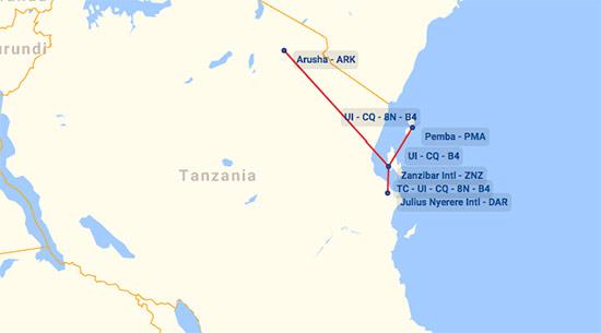 Zan Air route map