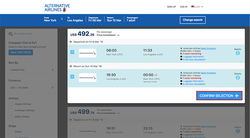 Alternative Airlines Flight Search Result - JFK—LAX Confirm Selection