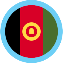 Afghanistan Flag in a circle with blue border