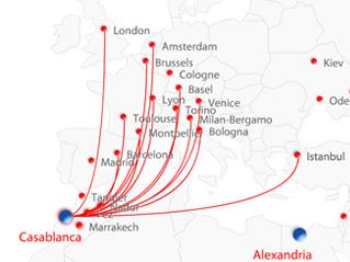 Air arabia maroc route map