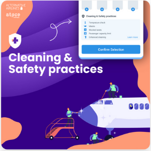infographic with the message: 'Cleaning and Safety practices', with a graphic image of a plane being cleaned