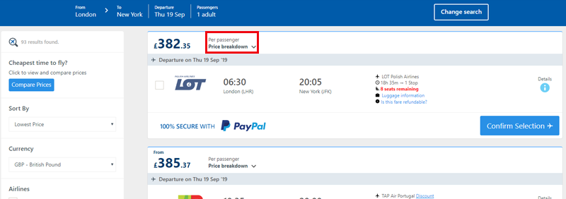 Alternative Airlines search results for London to New York