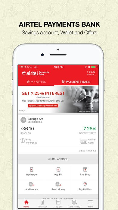 image of an external view of airtel app on a mobile phone