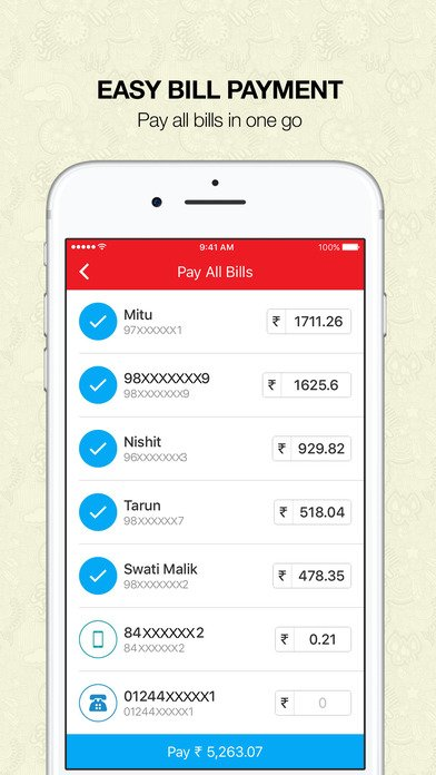 image of an external view of airtel app billing statement on a mobile phone