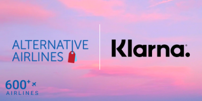 promotional image of a pink sky with the logos of Alternative Airlines and Klarna