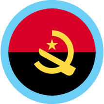 Angola flag round with blue border