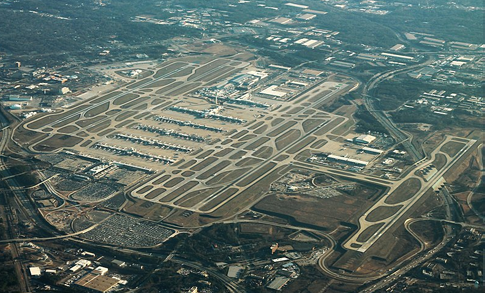 Atlanta Airport runways and airport from a birds eye view