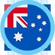 Australia flag round blue border