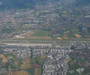 Bergamo airport aerial photo