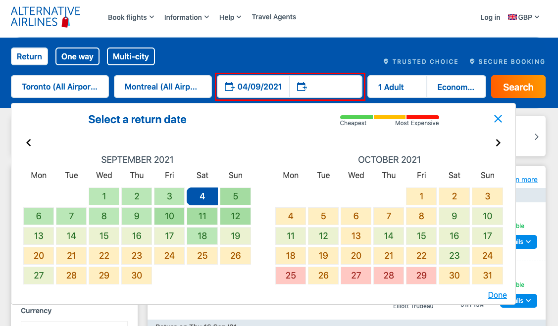 Screen sot of the Alternative Airlines search bar showing the cheapest days to book flights