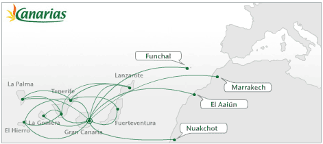 Binter Canarias route map