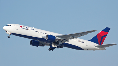 photo of a Boeing 767 Delta Air Lines plane in the sky