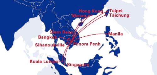 Cambodia Airways route map