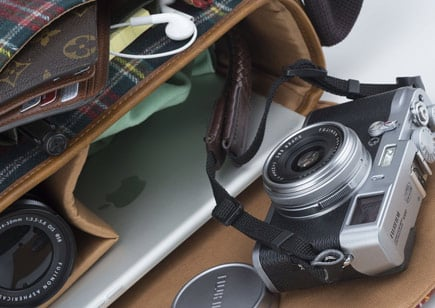 Camera in carry-on bag