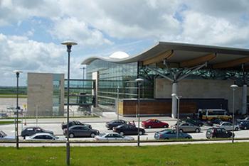 cork airport exterior shot showing modern glass building