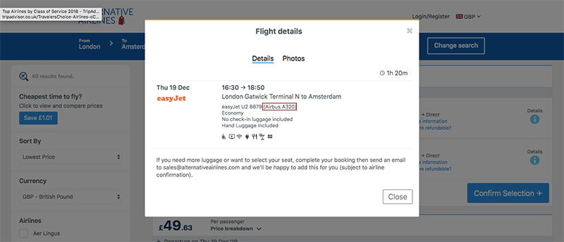 easyjet Alternative Airlines search results details