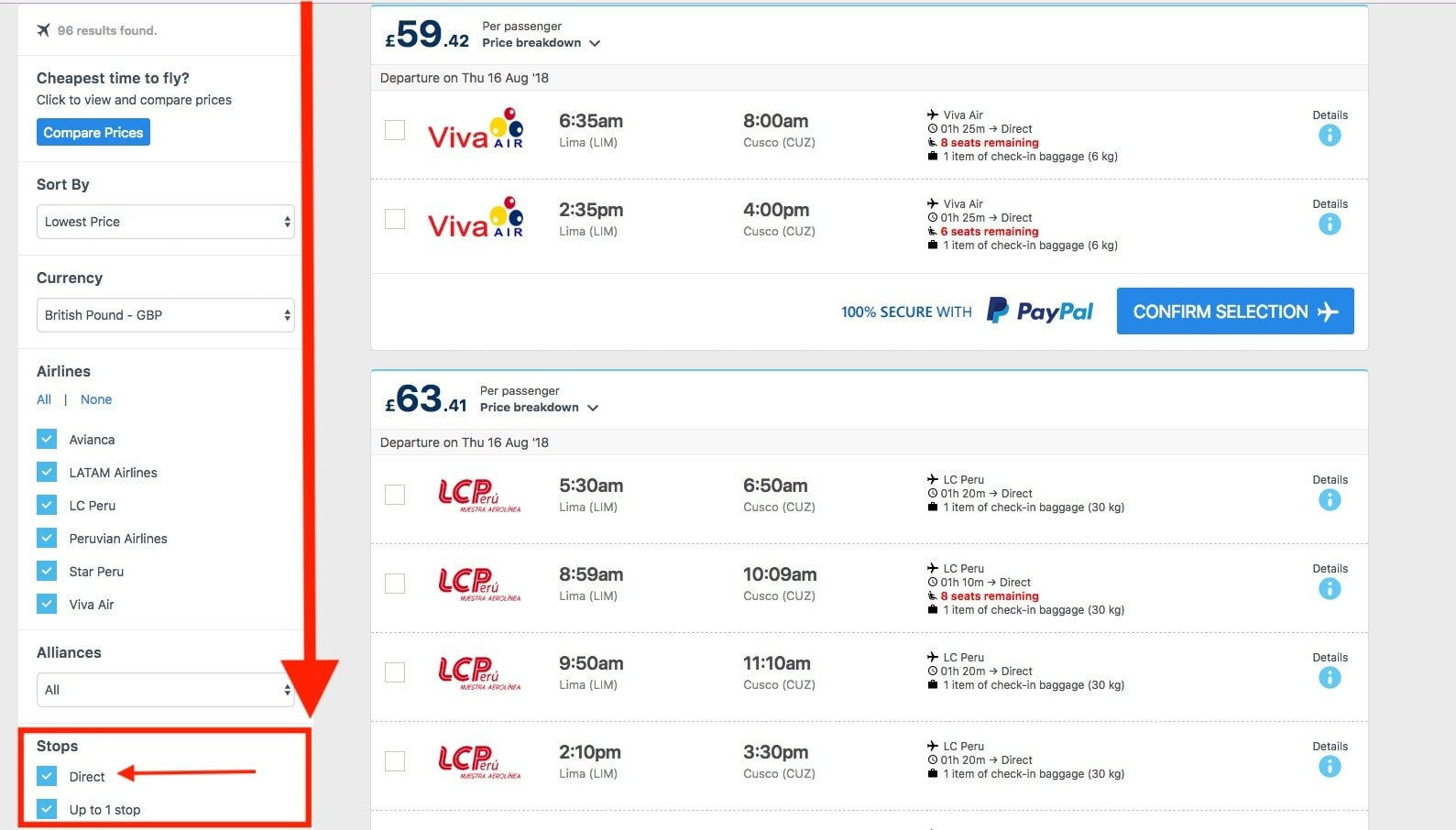 How to Buy non-stop flights step 2