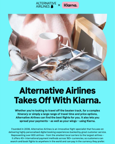 A preview image to the interview pdf published by Klarna from its interview with Alternative Airlines, featuring the title: 'Alternative Airlines takes off with Klarna'
