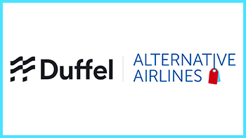 Alternative Airlines' and Duffel's logos