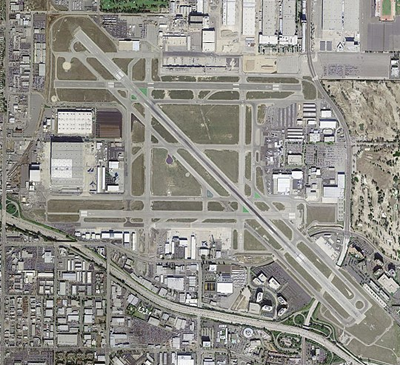 birds eye view of airport runways and terminals