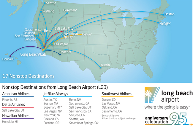 airline route map to/from LGB