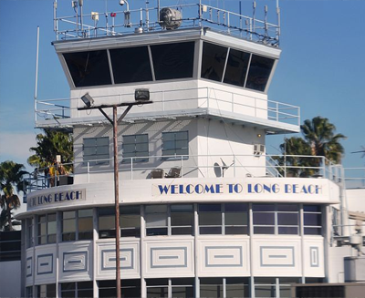close up of long beach airport tower