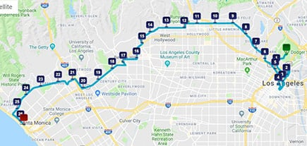 los angeles route map