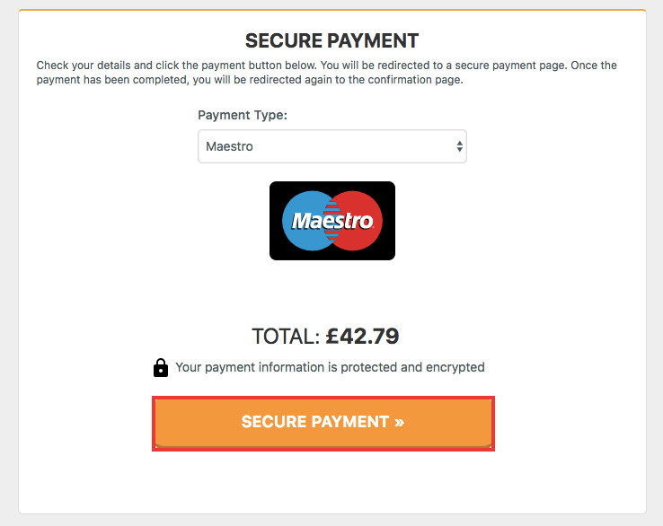 Select maestro as a payment method