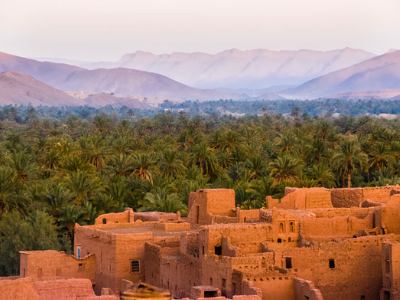 A view of a desert village in Morocco, with palm trees and mountains in the background