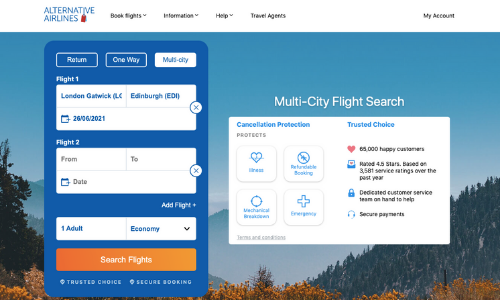 Multi city search filter on Alternative Airlines search bar