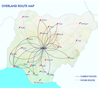 Overland airways route map