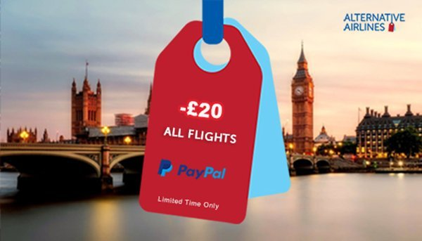 PayPal Flight Voucher Offer in Pounds GBP